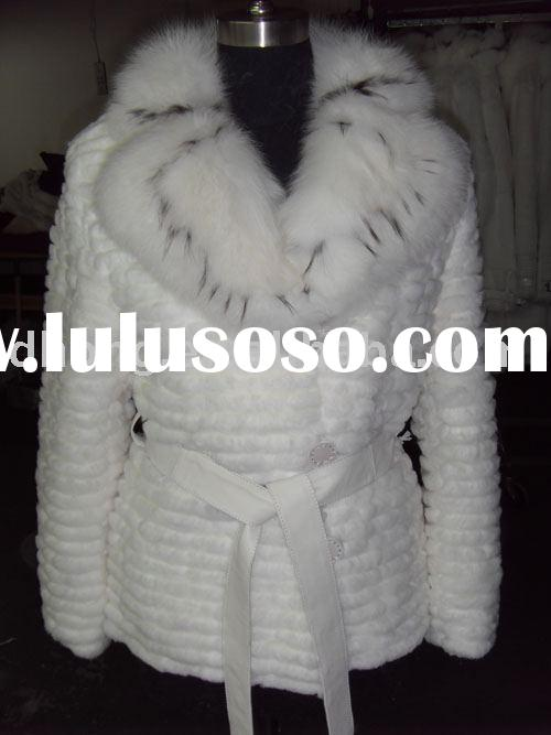fur coat ,lady garment, rabbit skin with fox collar