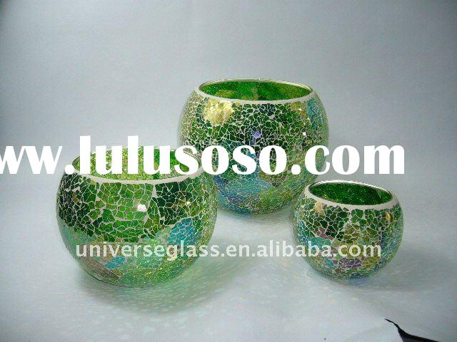 glass mosaic candle holder set 3
