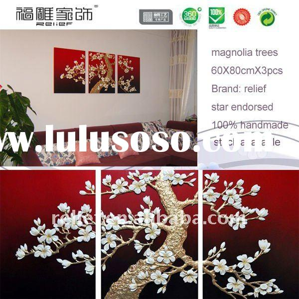 interior decoration art painting, magnolia tree painting, 3D painting, resin relief painting, wall a