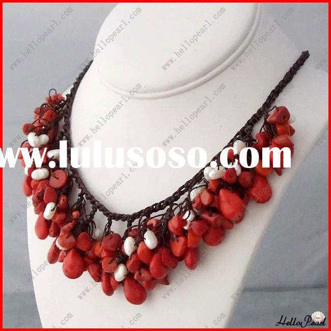 irregular shape white pearl and red coral handmade lace necklace