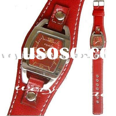 japan movt quartz watch stainless steel back leather watch