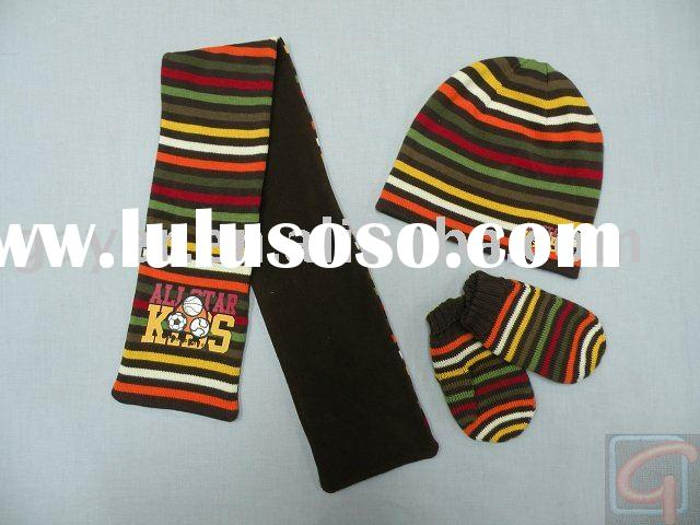 knitted hat&scarf&gloves set