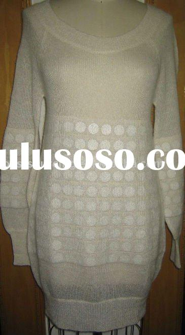 lady clothing mohair 7gg knitted crew neck long sleeve tuic dress sweater with hidden sequin BS-226