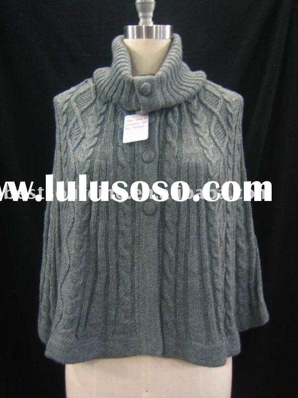 lady winter cardigan poncho coat women's wool blend computer 5gg knitted cape cable sweater