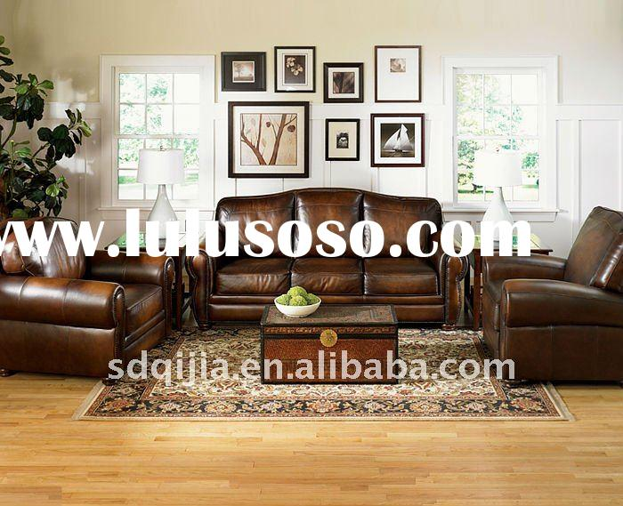 luxury leather sofa American classic style furniture living room set