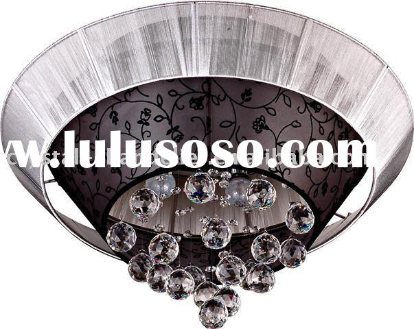 modern crystal ceiling chandelier lamp with fabric shade,pendant lighting