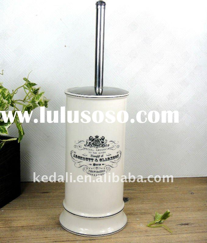 porcelain toilet brush holder with stainless steel toilet brush