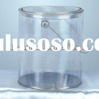 round shape size:170*H190mm with metal lid and metal handle transparent plastic box