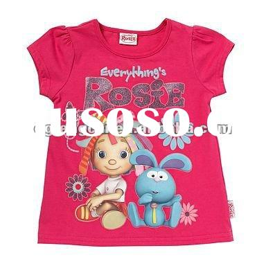 short sleeve 100% cotton silk screen printing children clothing