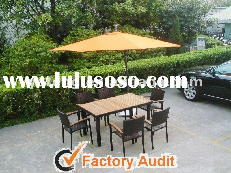 Teak Dining Tables with Umbrellas-www.lulusoso.com
