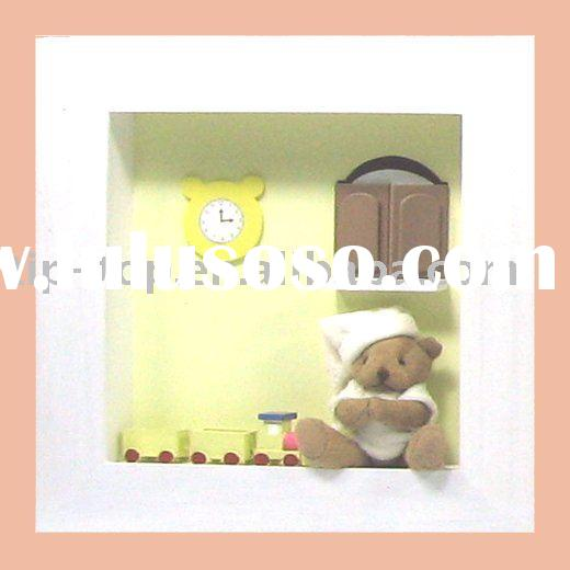 teddy bear wooden wall gift picture