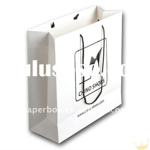 white art paper gift bag in 200gsm paper with black handle
