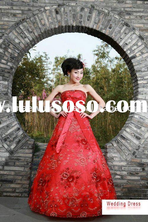 wholesale 2011 new Charming red floor length ball gown wedding dress D60447