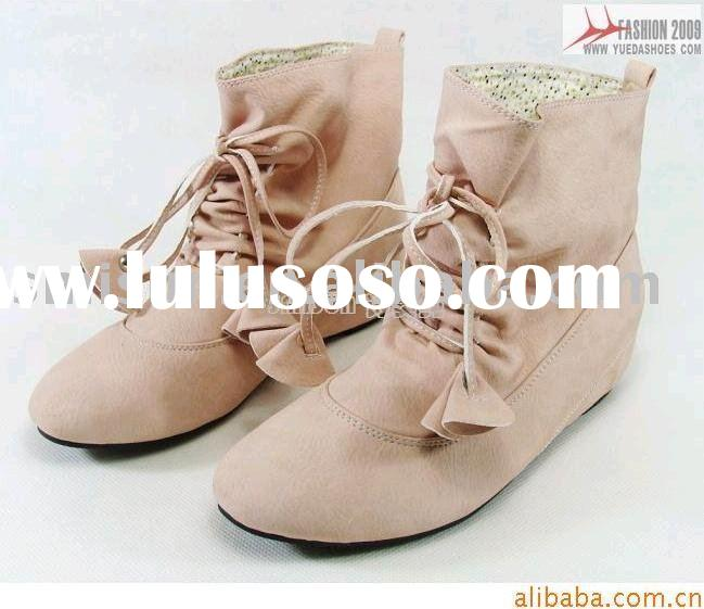 wholesale, women boots,PU,flat heel,rubber,half boots,for young ladies