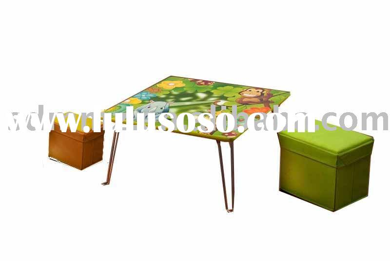 wooden floor table and fabric stool with storage