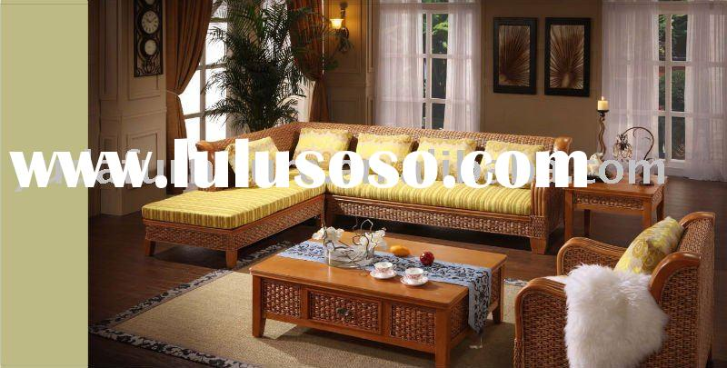 wooden outdoor furniture Natural Indonesia rattan sofa Water hyacinth seagrass cane wicker