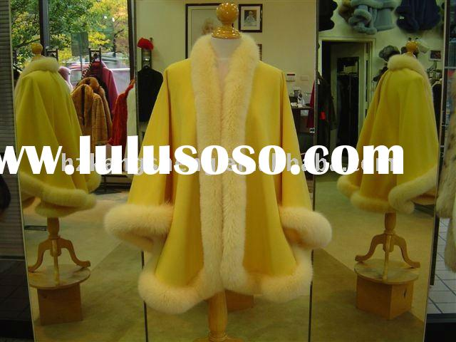 100% GUARANTEED REAL CASHMERE TRIM REAL FOX FUR CAPE,100% CASHMERE POUNCHO TRIM WITH FOX FUR