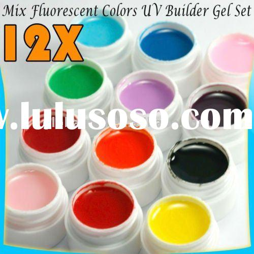 12 Colors Fluorescent UV Nail Art Builder Gel Set