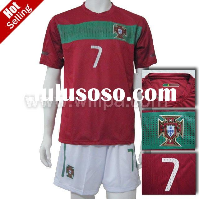 2010 lastest Portugal Home Red Soccer T-Shirt ( Embroidered logo accept paypal)