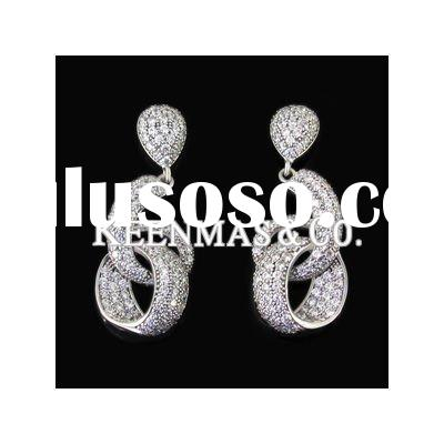 2011 Charming 925 sterling silver pave setting white zircon earrings,top jewelry manufacturer!