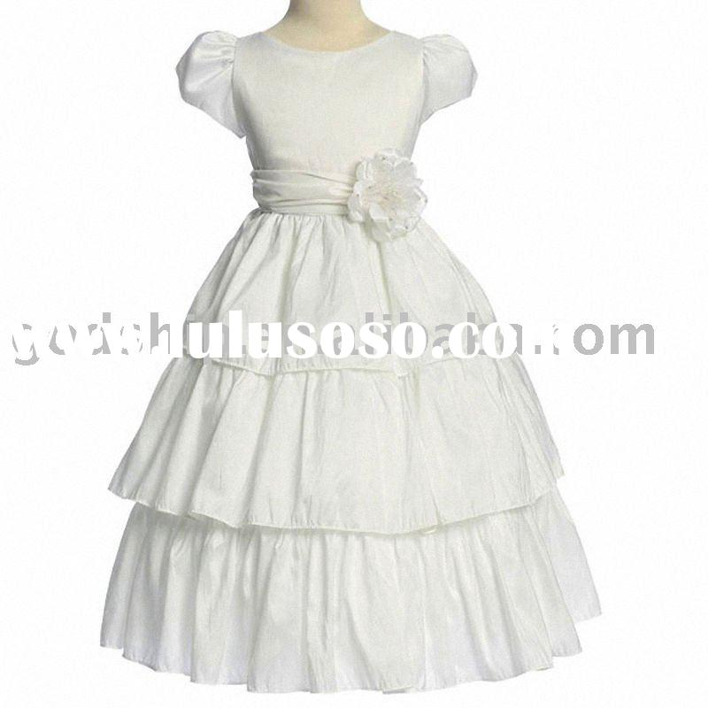 2011 Girls' Formal Wear Flower Dress Princess White Color Girl Dress For Three Tiereds 0030