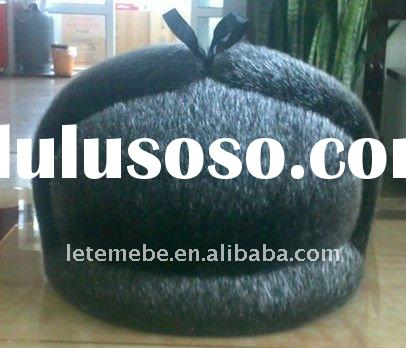 2011 New fashion knitted natrual mens black mink fur hat /caps