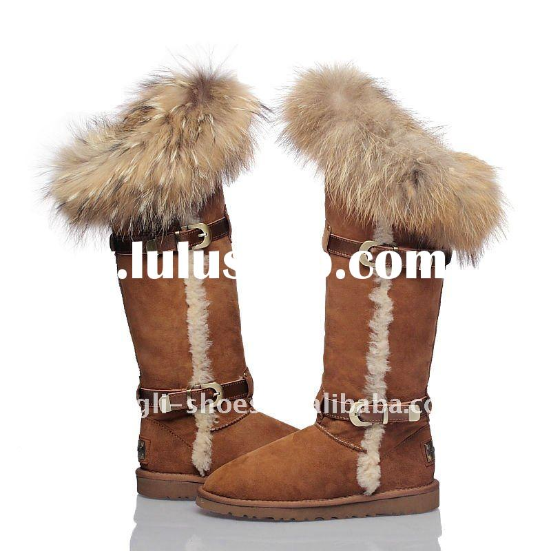 2011 winther hot selling women warm snow boots with top fur lowest cost