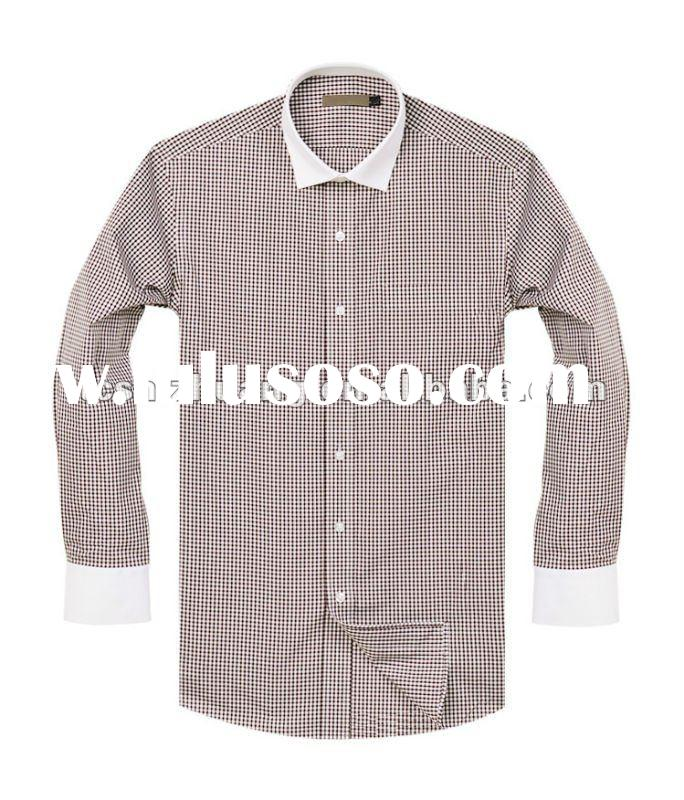2012 100%cotton slim fitted long sleeve men formal plaids dress shirts