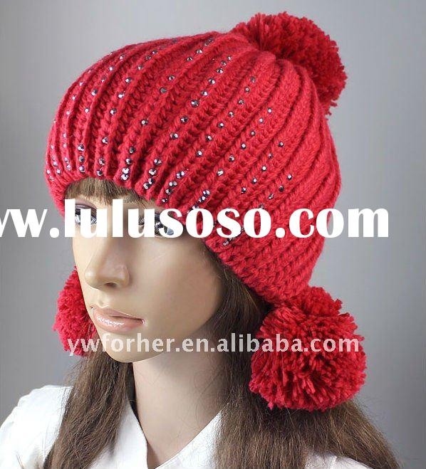 2012 Fashion knitted hat with rhinestones
