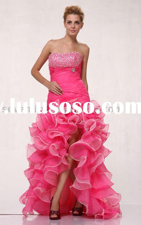 2012 New Pink Strapless Delicately Pleated High-Low Hem Ruffled Skirt Prom Dresses
