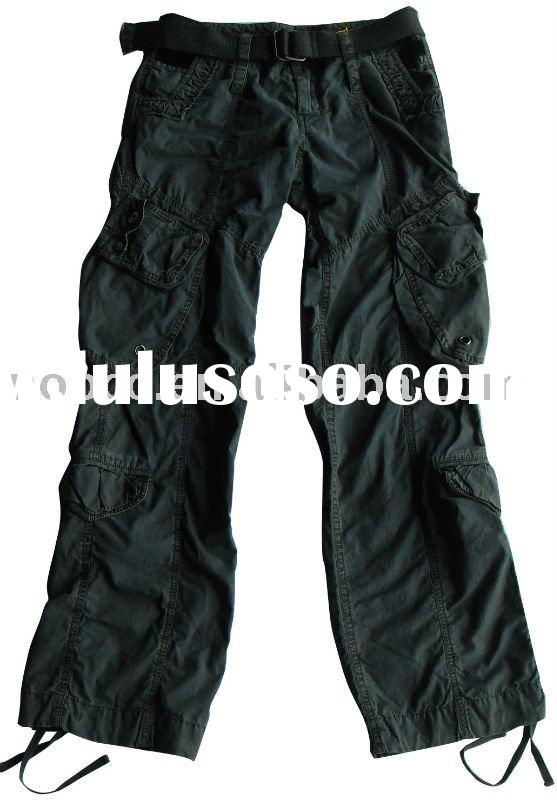 New Ladies Womens Grey Baggy Loose Cargo Pants Wide Boyfriend Combat