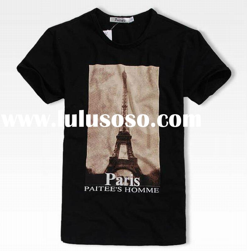 2012 fashion men's 100% cotton t shirts latest designed printing