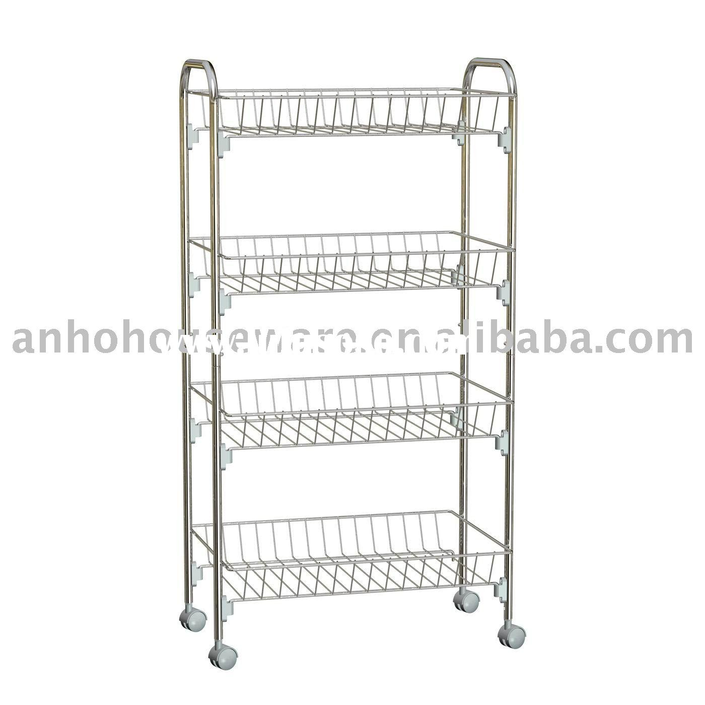 4-tier storage rack with wheels