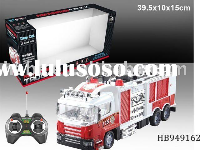 4chu rc fire engine truck with lights,rc educational children construction toy car,plastic toys