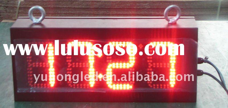 """5"""" 88:8C/F Red LED Time Clock and Temperature Display for Outdoor"""