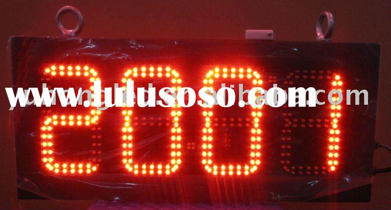 """6"""" 88:8C/F Red LED Time Clock and Temperature Display for Outdoor"""