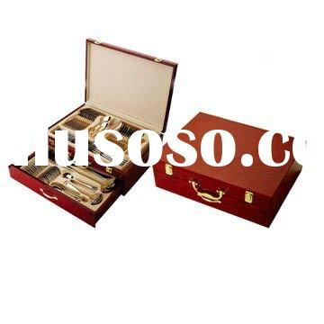 72pcs stainless steel cutlery set with wooden box
