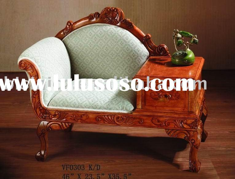 Antique solid wood chaise lounge,fabric chair,living room furniture,classical home furniture