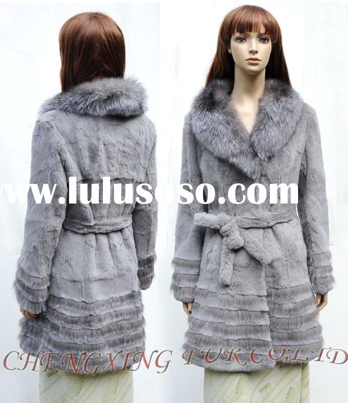 CX-G-A-21 Genunie Rabbit Fur Jacket With Fox Fur Collar
