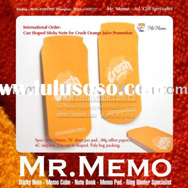 Can shaped sticky note for crush orange juice promotion memo pad