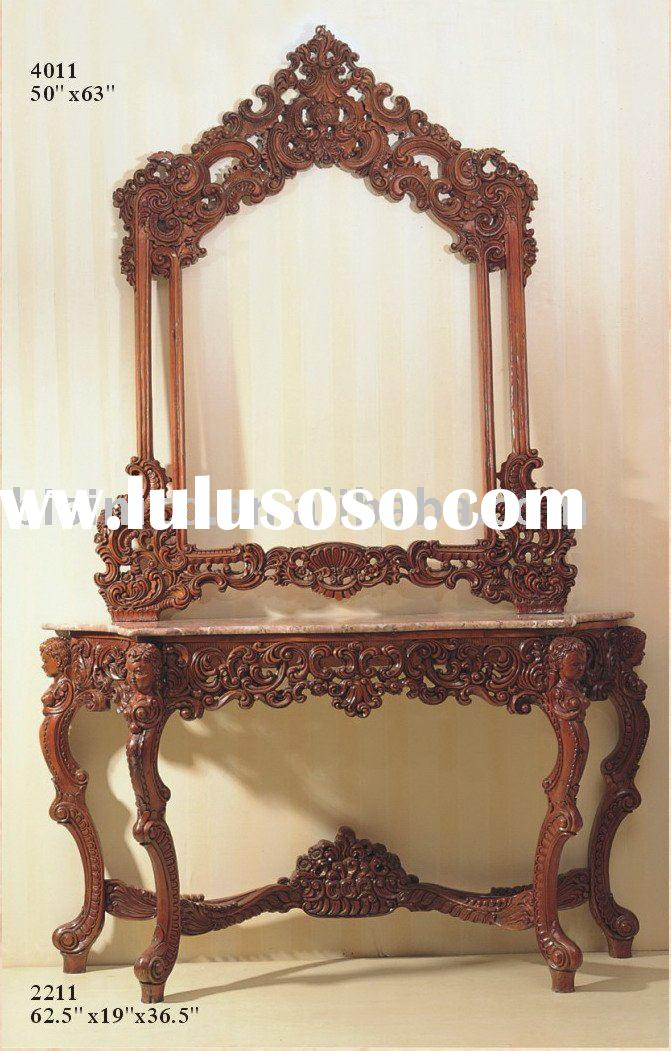 Classical reproduction console table with mirror,marble top console table sets,classical home furnit