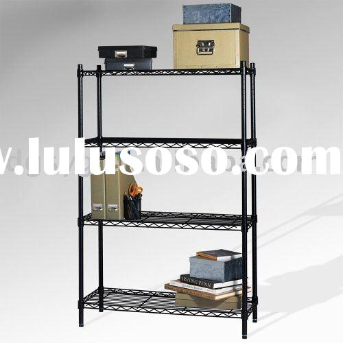 Coated Light Duty Wire Shelving Black With 4 Layer