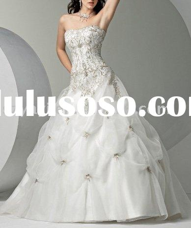 Custom made white organza strapless floor length A-line lace up wedding dress WLF7046