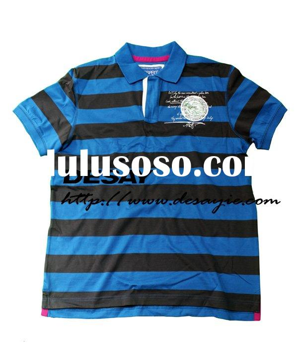 DSM549 mens cotton stripe polo T-shirt with print and embroidery