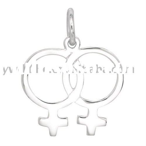 Double Female Symbol Silver Plated Alloy Charm Pendant 182395,Symbol Charms Series