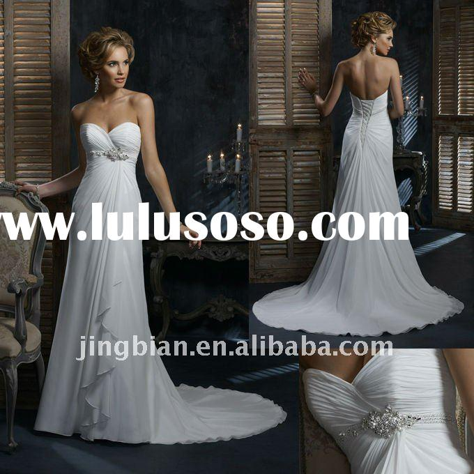 Elegant flowing Gossamer Chiffon A-line Gown with a triple braided band New Open Back Floating White