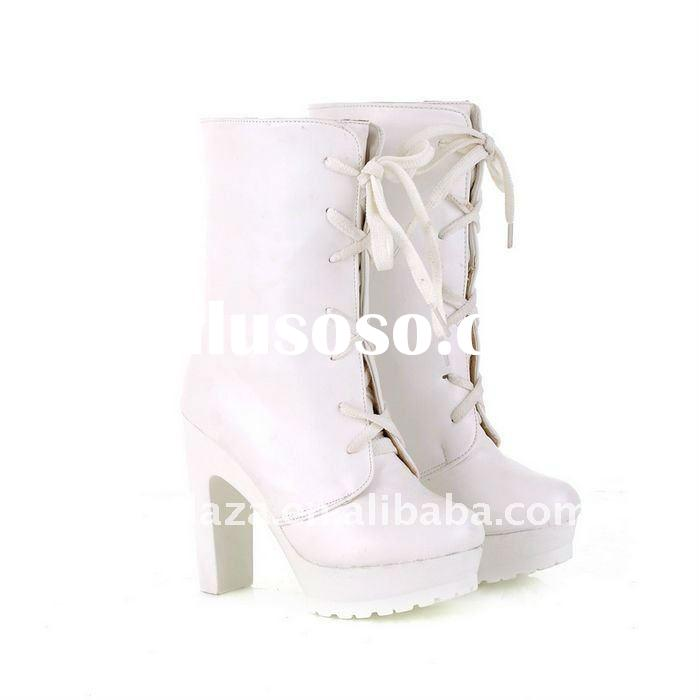 Fancy White Leather Lace Up 11.5CM High Heel 3CM Pumps Women Ankle Boots US4.5-8.5