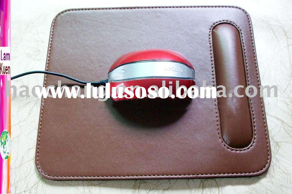 Fashion Leather Mouse Pad with Wrist Rest Stand