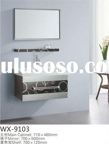 French bathroom furniture with silver mirror,shelf and ceramic basin