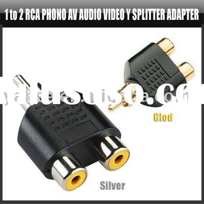Gold 1 to 2 RCA Phono AV Audio Video Y Splitter Adapter,YHA-CA057